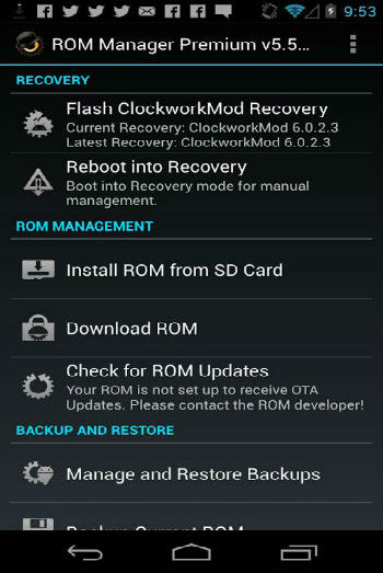 ROM Manager - Reboot into Recovery