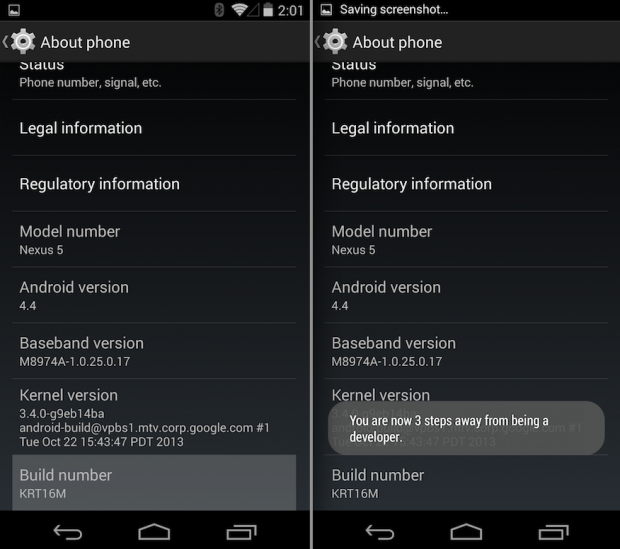 Enable USB Debugging on Android 4.4 KitKat and Nexus 5