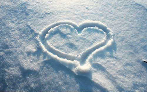 Heart Sign Made on Snow