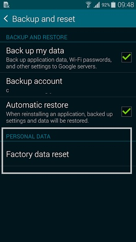 Galaxy s5 factory reset