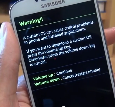 Samsung Galaxy S4 - Download Mode warning message screen