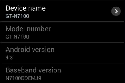 Android 4.3 Update for Galaxy Note II GT-N7100