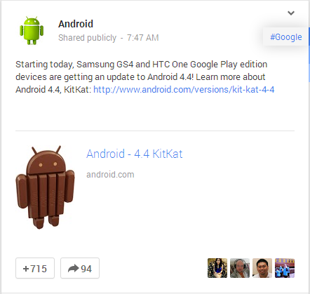 Samsung GS4 and HTC One Google Play edition devices are getting an update to Android 4.4