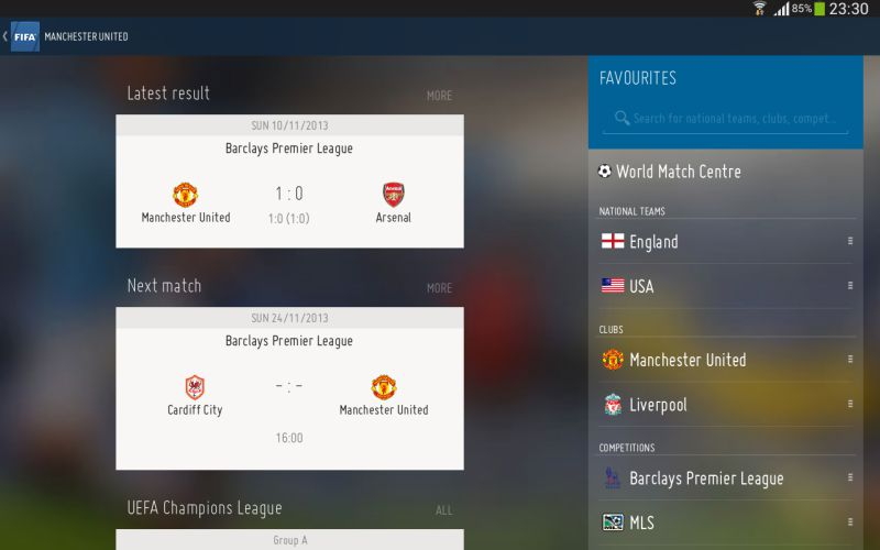 A screenshot from the Official FIFA App for Android